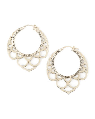 Naga Medium Silver Lace Hoop Earrings