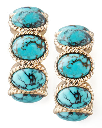 Turquoise Cabochon Hoop Earrings