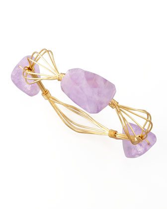 Triple-Station Wire Bangle, Amethyst