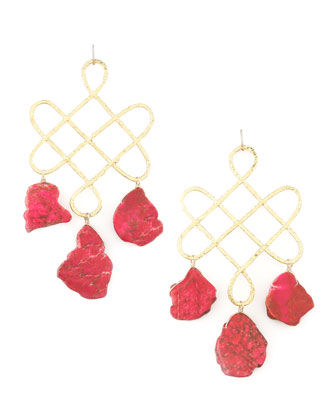 Red Howlite Drop Earrings