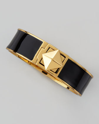 pyramid lock thin bangle, black
