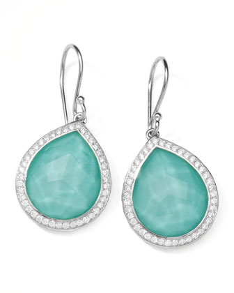 Stella Teardrop Earrings in Turquoise Doublet with Diamonds, 1