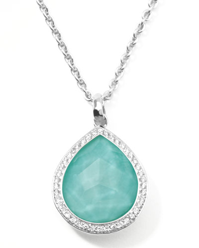 Stella Teardrop Pendant Necklace in Turquoise Doublet with Diamonds