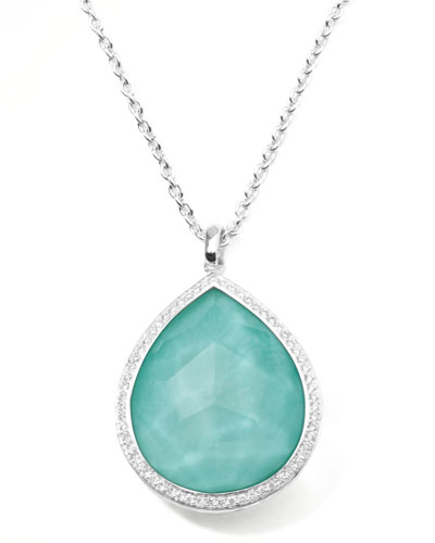 Stella Large Teardrop Pendant Necklace in Turquoise Double with Diamonds