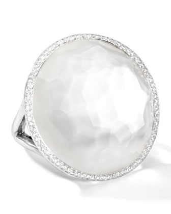 Stella Large Lollipop Ring in Mother-of-Pear Double with Diamonds