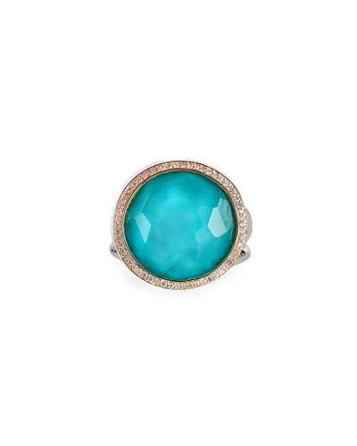 Stella Lollipop Ring in Turquoise Doublet with Diamonds, 0.23