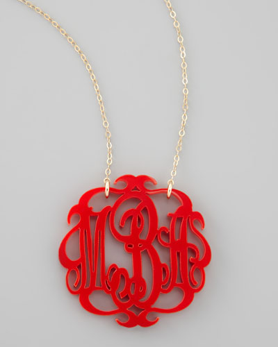 Large Acrylic Script Monogram Pendant Necklace