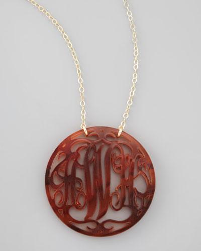 Rimmed Script Necklace