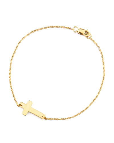 Gold-Plate Integrated Cross Bracelet