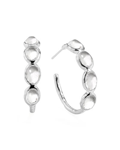 Rock Candy Silver Four-Stone #2 Hoop Earrings, Clear Quartz