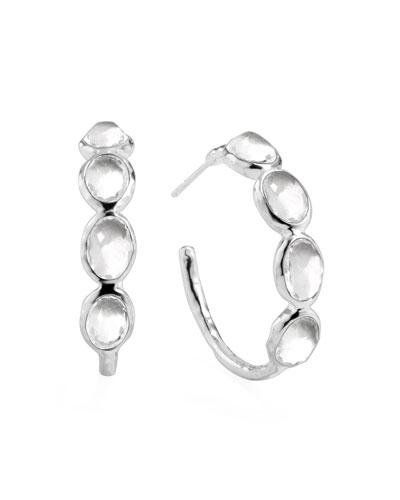 Rock Candy Silver Four-Stone #2 Hoop Earrings, Clear Quartz