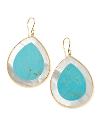 Polished Candy Jumbo Teardrop Earrings, Turquoise