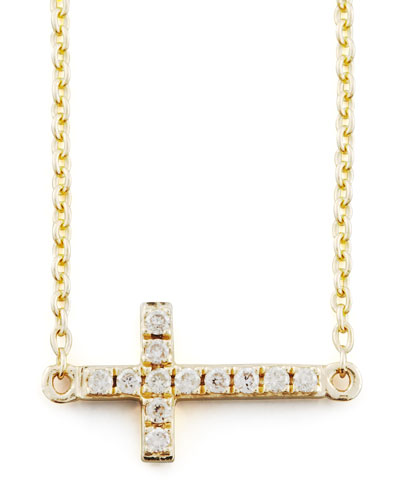 Small Gold Pave Diamond Cross Necklace