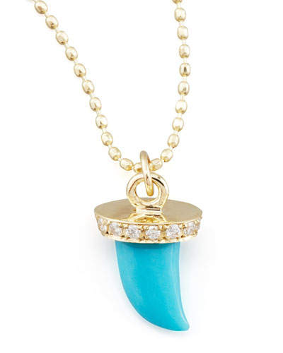 Small Diamond & Turquoise Horn Necklace