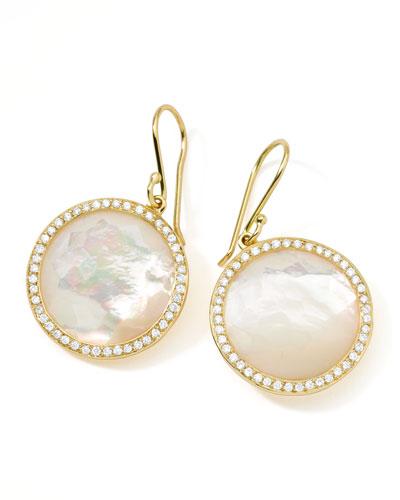 Rock Candy 18k Gold Lollipop Diamond Earrings, Mother-of-Pearl