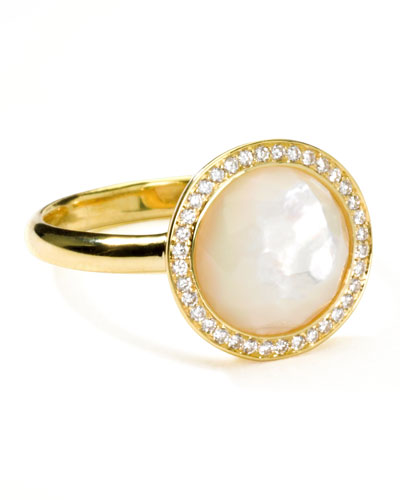 18k Gold Rock Candy Mini Lollipop Diamond Mother-of-Pearl Ring