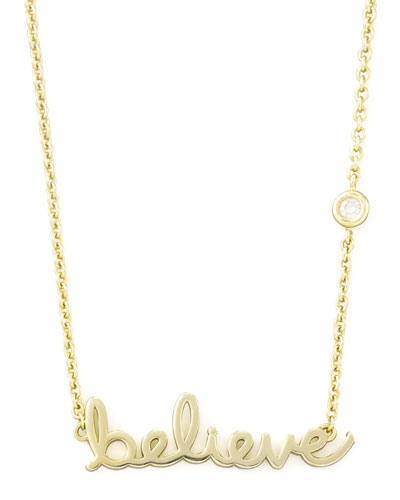 Believe Pendant Bezel Diamond Necklace