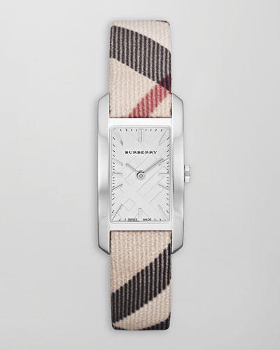Check-Strap Rectangular Watch