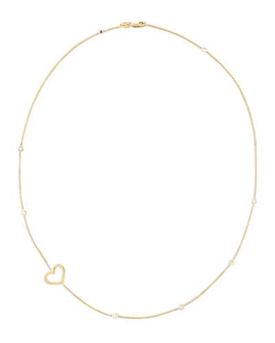 18k Yellow Gold Side-Heart Necklace