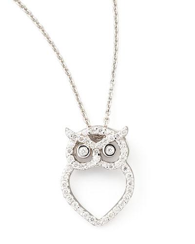 18k White Gold Diamond Owl Necklace