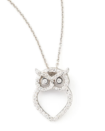 18k White Gold Diamond Owl Necklace