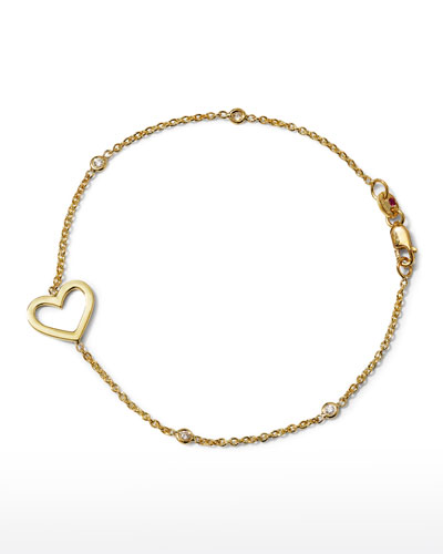 Yellow Gold Heart Diamond Bracelet