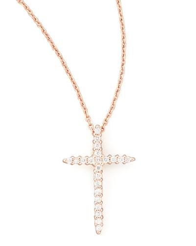 18k Rose Gold Diamond Cross Necklace