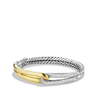 Labyrinth Single-Loop Bracelet with Diamonds