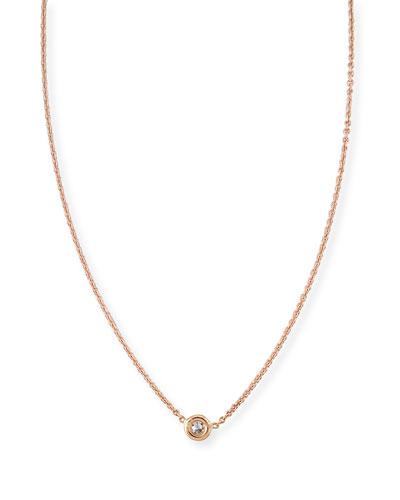 18k White Gold Single Diamond Necklace