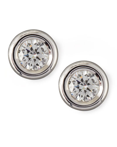 18k White Gold Diamond Solitaire Stud Earrings
