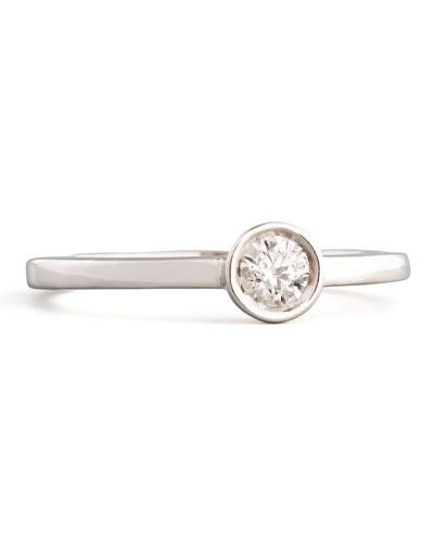 18k White Gold Diamond Solitaire Station Ring