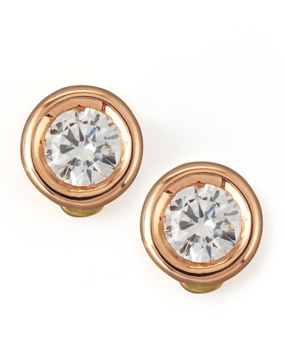 18k Rose Gold Diamond Solitaire Stud Earrings
