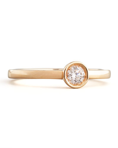 18k Rose Gold Diamond Solitaire Station Ring