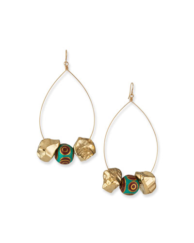 Turquoise & Coral Beaded Nugget Earrings