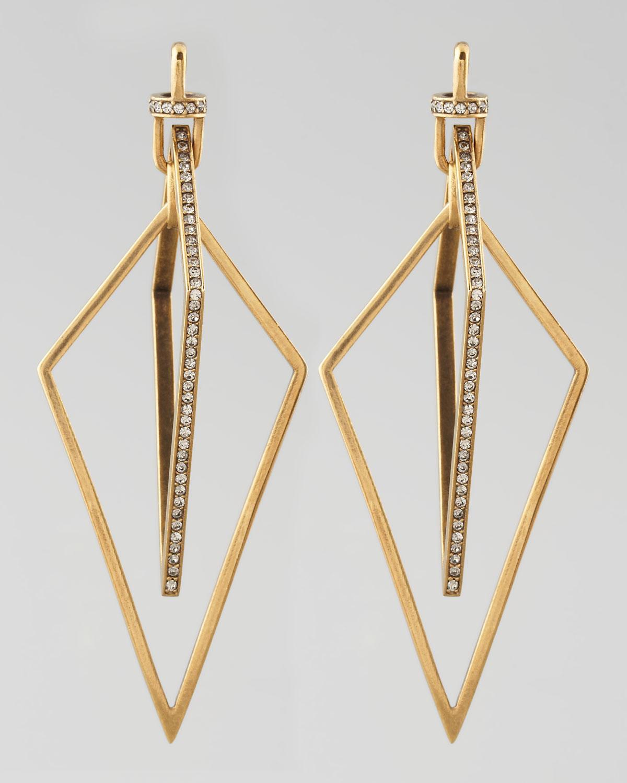 Diamond-Shaped Pave Crystal Earrings