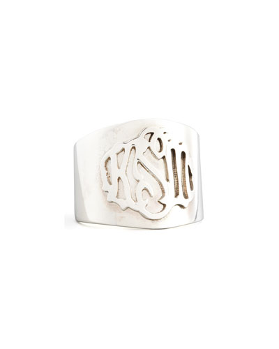 Monogram Script-Lettered Silver Cigar Ring