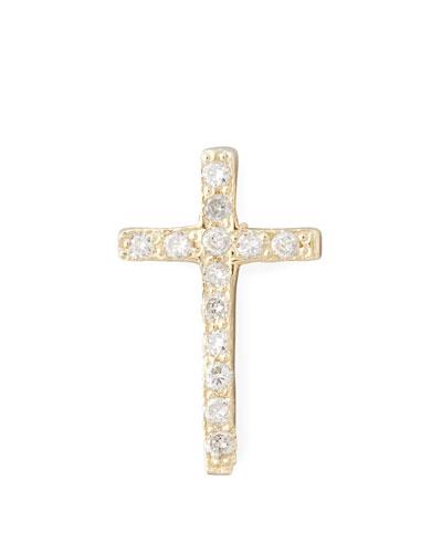 14k One Pave Diamond Gold Cross Stud Earring