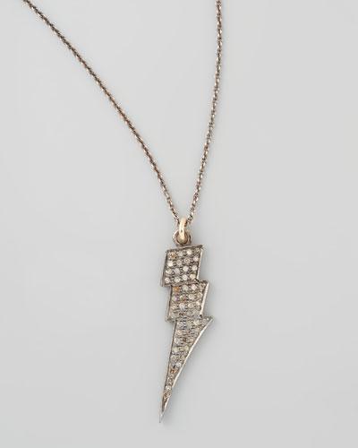 Black Diamond Lightning Bolt Pendant Necklace