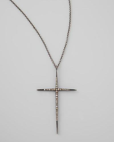 Pave Black Diamond Cross Necklace, 30