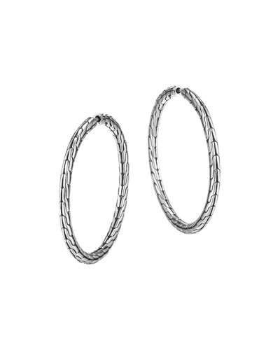 Chain Silver Hoop Earrings, Medium