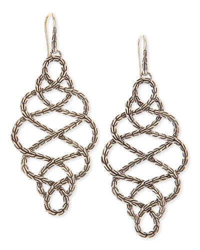 Chain Silver Braided Drop Earrings, Large