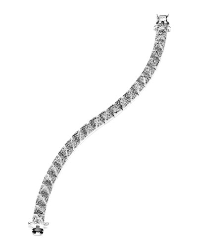 Small Pave Pyramid Bracelet, Silver Plate