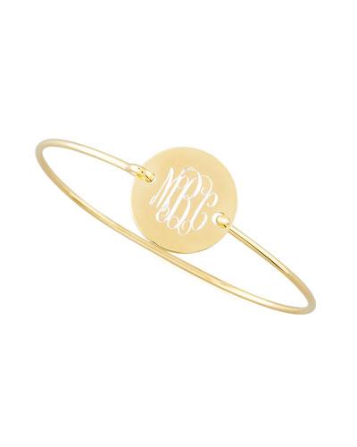 Chiara Monogrammed Circle Bracelet, Gold