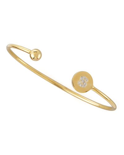 Ball & Pave Diamond Initial Bracelet, Gold