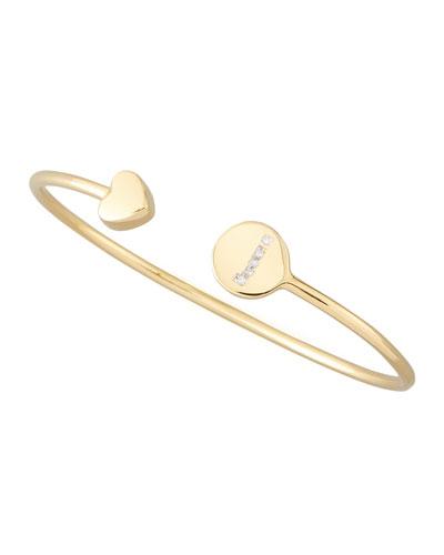 Gold & Pave Diamond Initial Bracelet