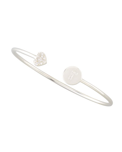 DIAMOND-HEART & PAVE DIAMOND INITIAL BRACELET