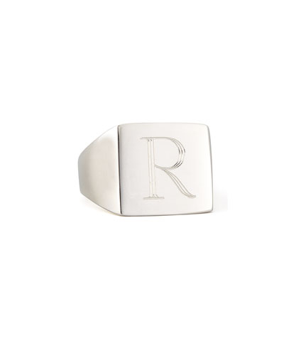 Letter-Engraved Square Signet  Ring, Silver