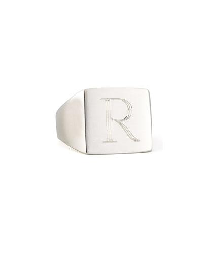 Sarah Chloe Letter-Engraved Square Signet Ring zpE4YYy8X1