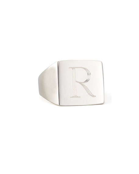 Sarah Chloe Letter-Engraved Square Signet  Ring, Silver