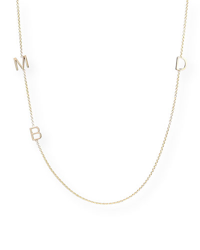 Mini 3-Letter Personalized Necklace, 14k Yellow Gold